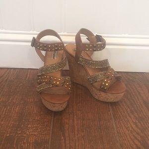 Brown Rhinestone and Stud Wedge Sandals